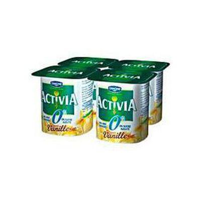 Yaourts saveur 0% vanille, ACTIVIA, 4x125g