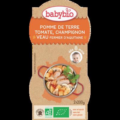 Bol pomme de terre tomate champignon veau BABYBIO, dès 8 mois, 2x200g