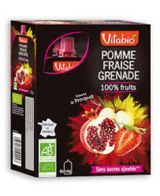 Gourde Pomme Fraise Grenade Bio Vitabio 4gourdes 120g