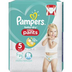 Couches baby dry pants taille 5, 11 à 16kg PAMPERS, paquet de 21