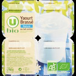 Yaourt brassé nature au lait entier nature U BIO, 4x125g