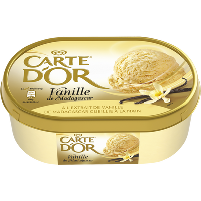 Crème glacée vanille de Madagascar CARTE D'OR, 500g