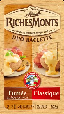 Fromage raclette au lait pasteurisé duo classique goût fumé RICHES MONT S, 26% de MG, 420g
