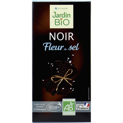 Tablette chocolat noir fleur de sel bio JARDIN BIO 100g