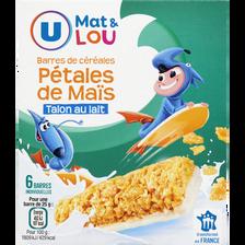 Barres de céréales et pétales de maïs talon lait U MAT et LOU, boîte de 150g