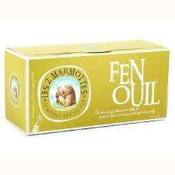 Infusion Fenouil, LES 2 MARMOTTES, la boite de 30 sachets, 60g.