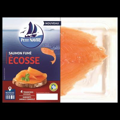 Saumon Atlantique élevé en Ecosse fumé PETIT NAVIRE, 4 mini tranches soit 120g
