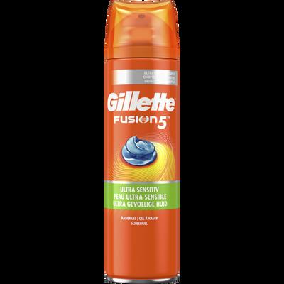 Gel à raser fusion 5 ultra sensitive GILLETTE, flacon 200ml