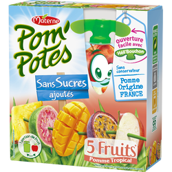 Compote Pom'Potes 5 fruits tropical MATERNE, 4x90g