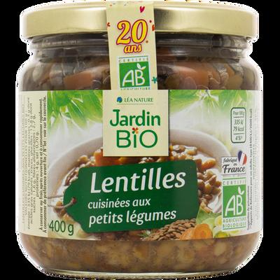 Lentilles cuisinées aux petits légumes JARDIN BIO, 400g