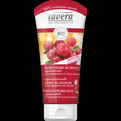 Huile crème de douche régénérante à la cranberry bio et à l'huile d'argan bio LAVERA, tube de 250ml