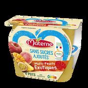 Materne Compote Sans Sucre Ajouté Multifruits Exotique Materne, 4x100g