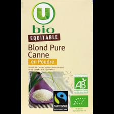 Sucre en poudre blond pure sucre de canne équitable U BIO, paquet de 500g