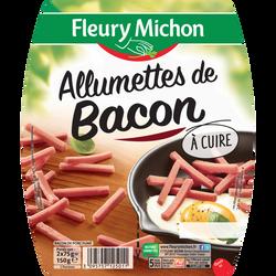 Allumettes de bacon à cuire FLEURY MICHON, barquette sécable 2x75g