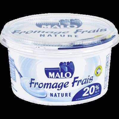 Fromage frais nature au lait pasteurisé MALO, 20% de MG, pot de 500g