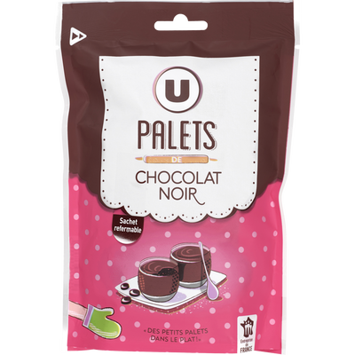 Palets chocolat noir U, paquet de 200g