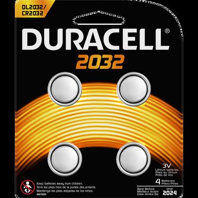 Piles  DURACELL, mini, 2032, 4 unités