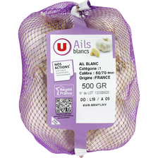Ail blanc, U, calibre 50/70, France, filet 500g