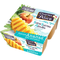Dessert de fruits pomme ananas sans sucre ajouté, CHARLES & ALICE, 4x97g