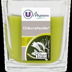 Contenant carré U MAION, en verre, avec bougie parfumée chèvrefeuille,vert