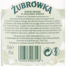 Vodka ZUBROWKA HERBE DE BISON, 40°, bouteille de 70cl