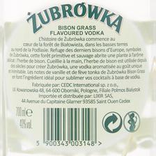Zubrowka Vodka  Herbe De Bison, 40°, Bouteille De 70cl