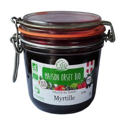 Myrtilles au sirop bio MAISON ORSET BIO, pot de 500g