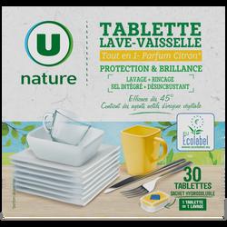 Tablettes lave vaisselle tout en 1 citron U NATURE, x30