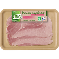 Jambon cuit supérieur découenné/dégraissé, BIO, 2 tranches, 120g