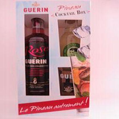 """Pineau des Charentes """"Cocktail box"""", pineau rosé blle 75cl+bitter limonade citron blle 20cl+verre+aromates Guérin"""