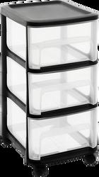 """Tour""""City""""3 tiroirs grand modèle avec roulettes en polypropylène-stoptiroirs,large poignée de préhension,roulettes 360° 32x37x61cm noirtiroirs natrel"""