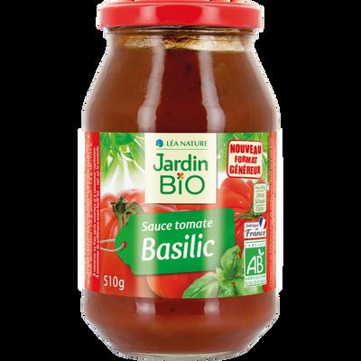 Sauce tomate au basilic JARDIN BIO, bocal en verre de 510g
