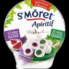 Fromage lait pasteurisé SAINT MORET apéritif billes ail & fines herbeset figues 2 saveurs 27% de MG, 100g
