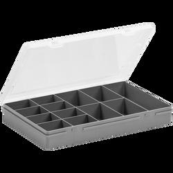 Mallette de rangement 13 compartiments en polypropylène 29x19x4cm gris