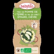 Bol pommes de terre épinards chèvre BABYBIO, dès 8 mois, 2x200g