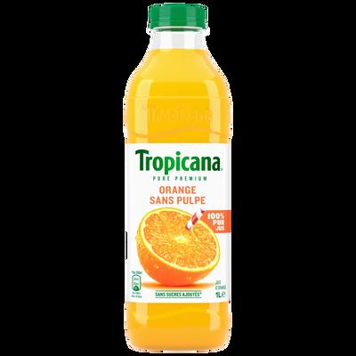 Pure jus d'orange sans pulpe Pure Premium TROPICANA, bouteille en plastique de 1L