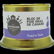 Bloc foie gras canard conserve DOMAINE D'ERNEST, boîte en fer de 150g
