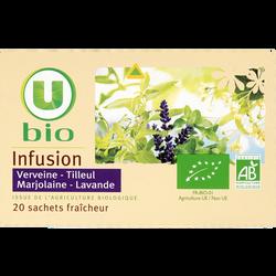 Infusion Tilleul, Verveine, Marjolaine et Lavande U BIO, 20 sachets, boîte de 30g