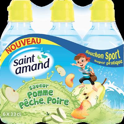 Eau minérale aromatisée à la pêche et à la poire SAINT AMAND, pack de6x33cl