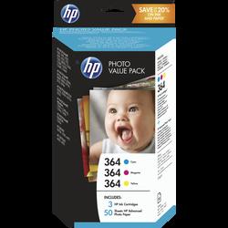 Pack 3 cartouches d'encre HP pour imprimante, CH082EG couleur N°364+85feuilles 10X15