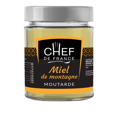Moutarde au miel des montagnes CHEF DE FRANCE, pot de 190g