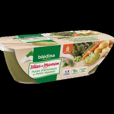 Idées de Maman, bols pour bébé purée d'artichaut et petits légumes BLEDINA, dès 8 mois, 2x200g