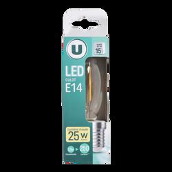 Ampoule led premium U flamme torsadée 25w e14 verre filament