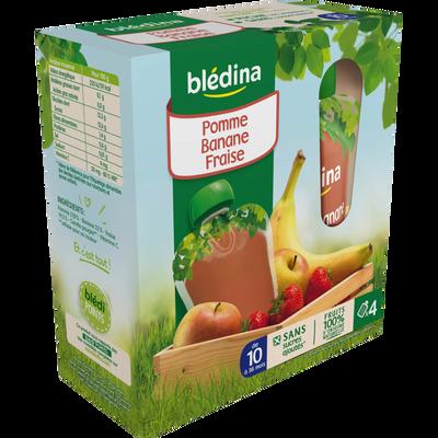 Gourdes 100% fruits pomme fraise banane dès 10 mois, BLEDINA, 4 gourdes de 90g
