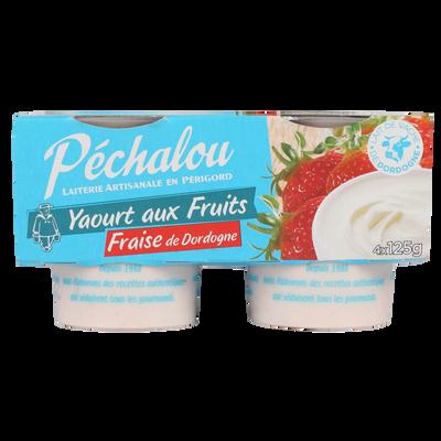 Yaourt brassé, fraise de Dordogne, PECHALOU, 4x125g