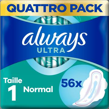 Always Serviettes Hygiéniques Avec Ailettes Taille 1 Normal+ Ultra Always X56