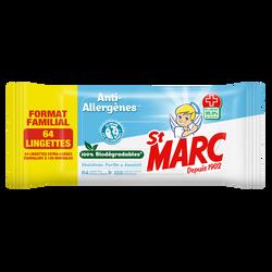 Lingettes biodégradables anti-allergènes ST MARC, x64 Format Familial