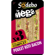 Sodeb'O Sandwich Le Méga Club Complet Poulet Roti Bacon Sodebo, 230g