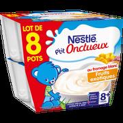 Nestlé P'tit Onctueux Au Fromage Blanc Et Fruit Exotique Nestlé, Dès 8 Mois,8x100g