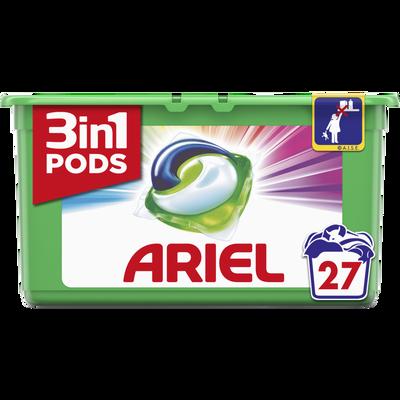 Lessive liquide color 3 in 1 pods, ARIEL, boîte de 27 doses (729g)